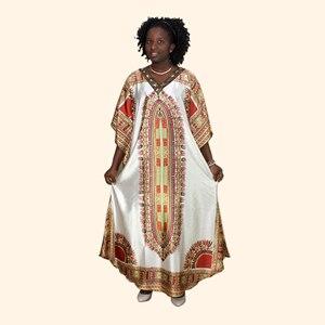 Image 1 - Afrykański dashiki druku diament suknie z aplikacjami dla damska suknia africaine femme 2019