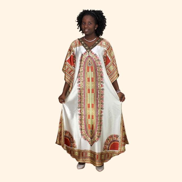 Afrykański dashiki druku diament suknie z aplikacjami dla damska suknia africaine femme 2019