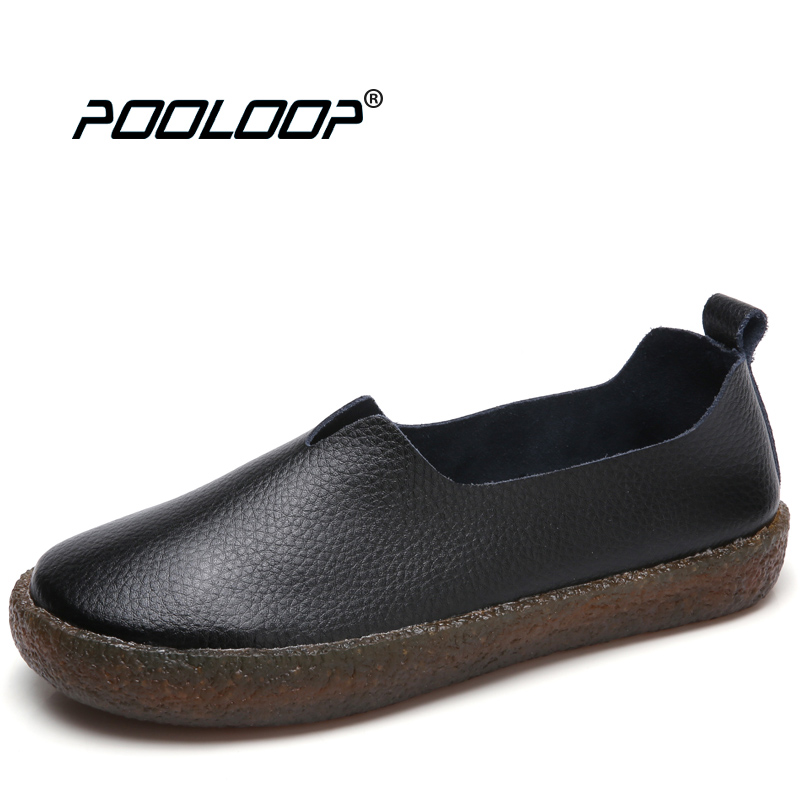POOLOOP Big Size Women Casual Ballet Flats Slip On Soft Leather Shoes Ladies Fashion Designer Shoes Cute Dress Loafers Wide Shoe wdzkn flower print women casual shoes slip on flats hollow out soft split leather women loafers big size ladies shoes 35 42