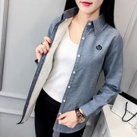 2XL Autumn Winter Women S Clothing New Fashion Office Turn Down Collar Long Sleeve Blouse Embroidery