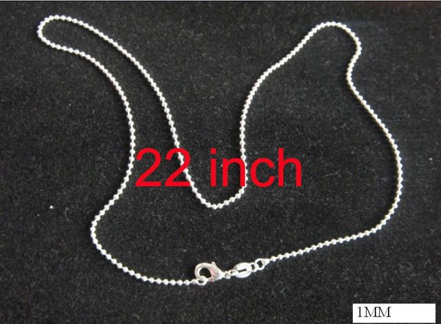 1mm X 22inch  ball chain!Free shipping silver plated ball chain necklace.fashion jewelry.silver plated necklace.Only $0.99