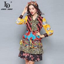 купить LD LINDA DELLA 2018 Fashion Designer Autumn Dress Women's Long Sleeve Bow Collar Tiered Floral Leopard Print Vintage Dress онлайн