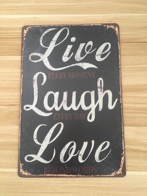 "Metal Sign Letters Wholesale 20X30Cm Tin Sign Letters Sign ""life Laugh Love"" Retro Shop Iron"