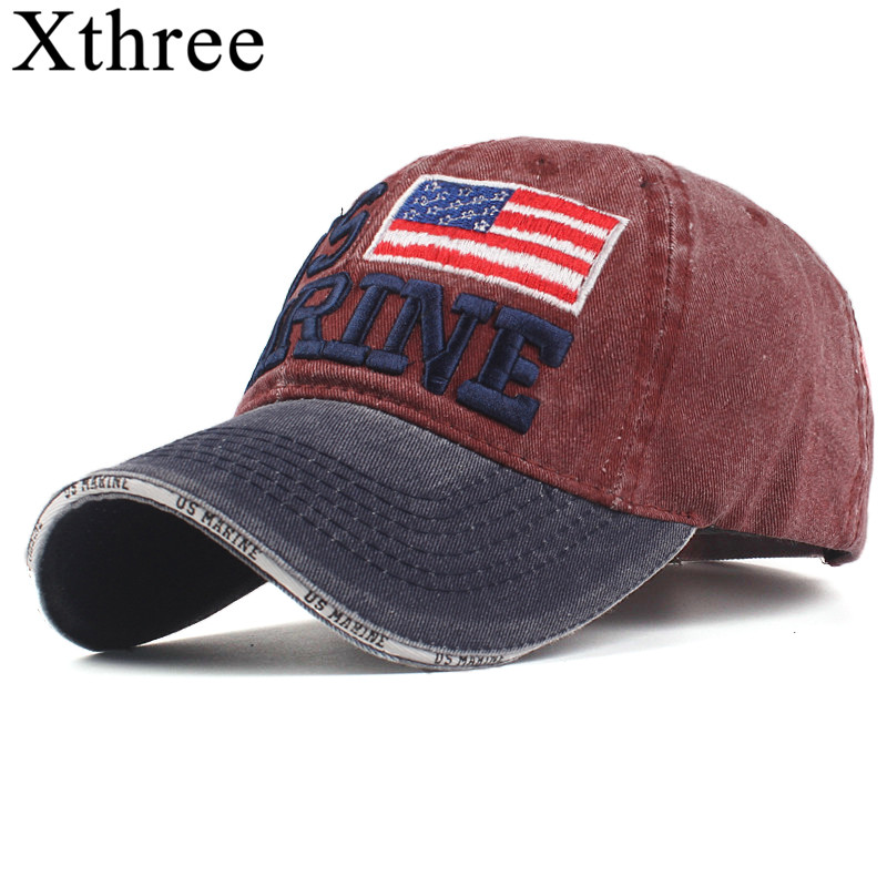 Xthree 100% Washed Cotton Baseball Caps Men Marine Hat Cap Embroidery Casquette Dad Hat for Women Gorras snapback