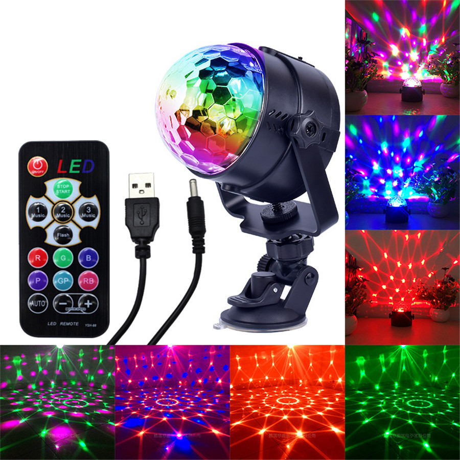USB Powered 5V Mini Led Stage Light IR Remote Colorful LED Crystal Magic Rotating Ball Stage Lamp KTV,Bar,Party,Holiday,New Year