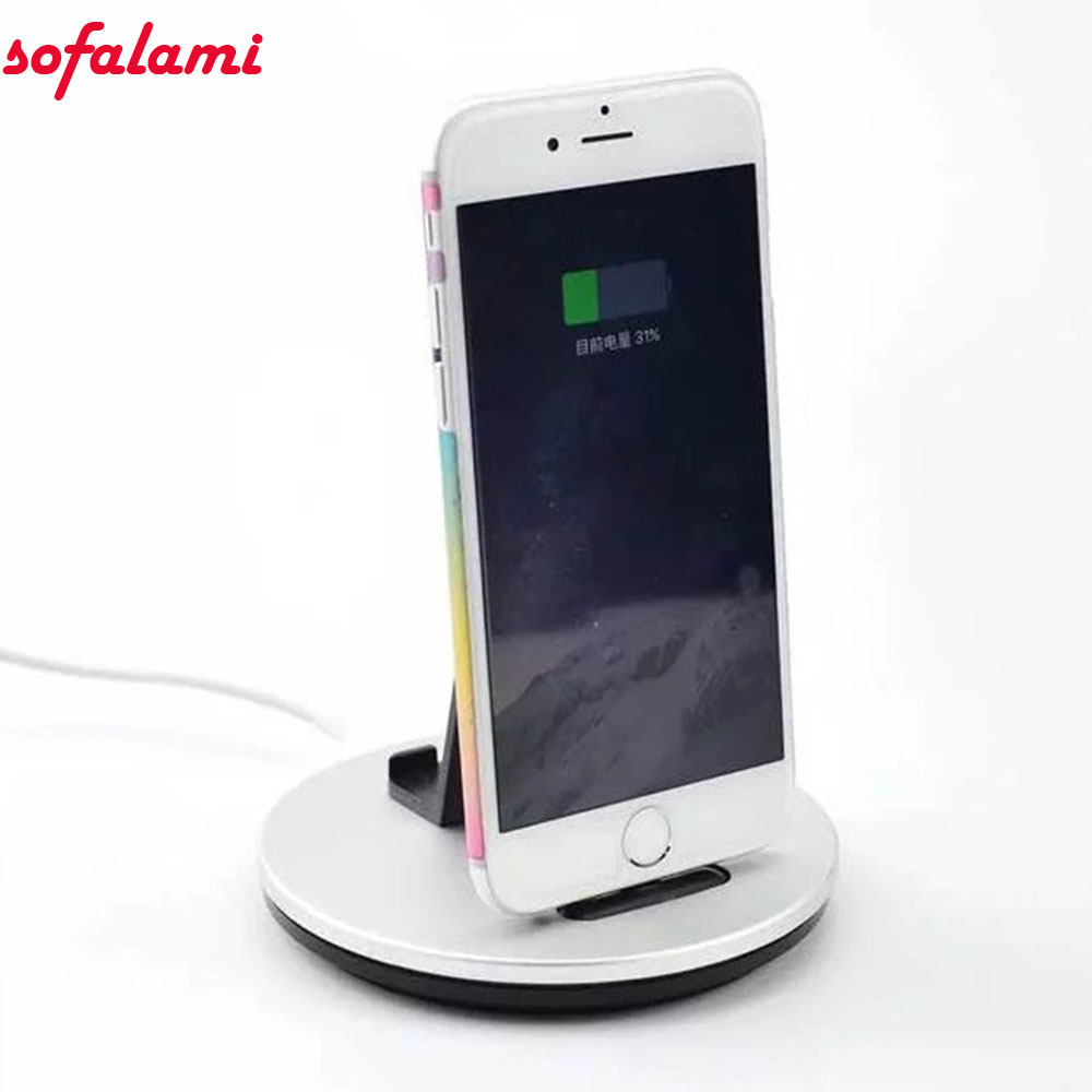 2 in 1 Dock Station Charging Stand Holder Desktop Metal Charger bracket For iPhone 6 7 8 X Plus Android Phones Micro USB Tablets