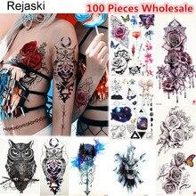100 шт., оригинальные Временные татуировки Rejaski для боди арта