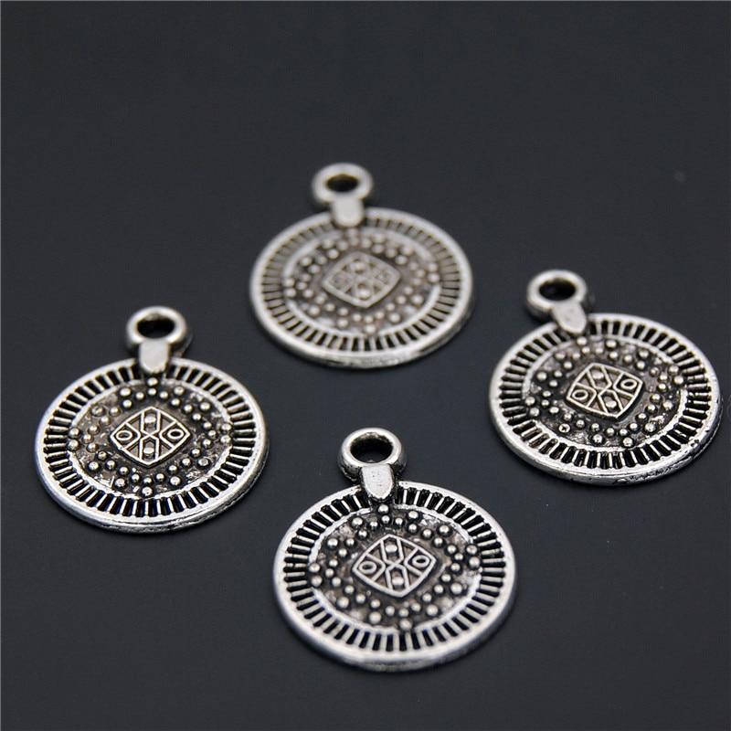 50 шт ручной работы Ретро цинковый сплав маленькие круглые подвески для монет для DIY аксессуаров A2318