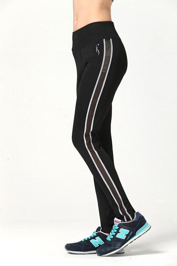 Ženy šití Color Strip Fitness Rychleschnoucí Cvičení Legíny Vysoký pas Kotník Délka Energetické kalhoty Kalhoty Ropa Mujer