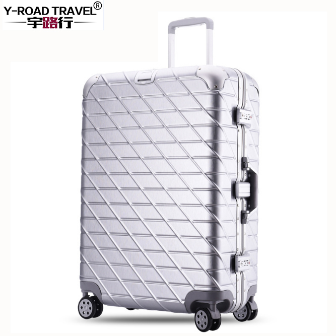 Full Aluminum Alloy Pull Rod Carry on Suitcase 20/24/29 inch Boarding Case Valiz Metal Luggage Trolley Suitcase Rolling Luggage