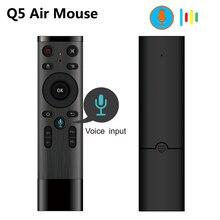 Control por voz inalámbrico Q5 Air Mouse 2,4G, Sensor giroscópico RF, Control remoto inteligente con micrófono para X96 H96, Android TV Box, Mini PC