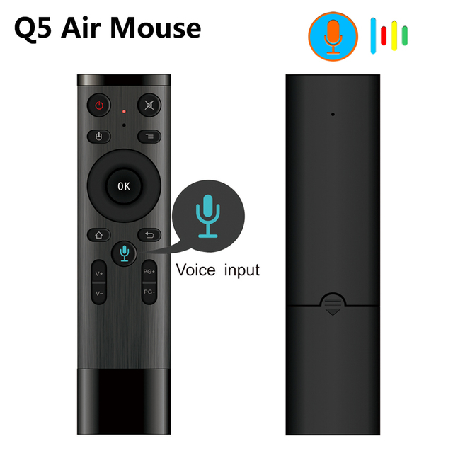 Q5 Voice Control Draadloze Air Mouse 2.4G Rf Gyro Sensor Smart Afstandsbediening Met Microfoon Voor X96 H96 Android tv Box Mini Pc