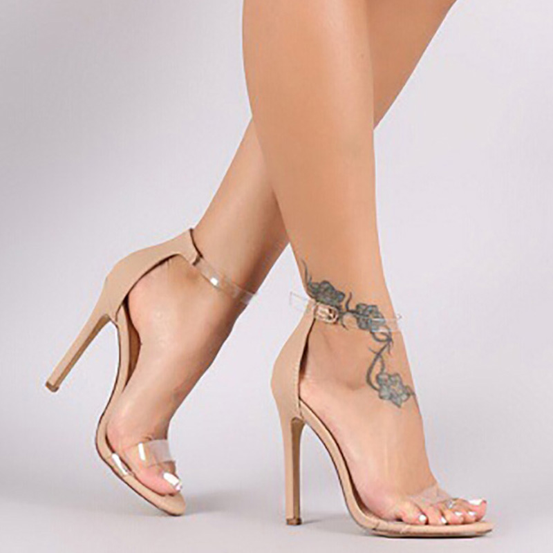 Women Sandals Stiletto Sheos Open-Toe High-Heels Female Sexy Mujer Summer Pu Zapatos