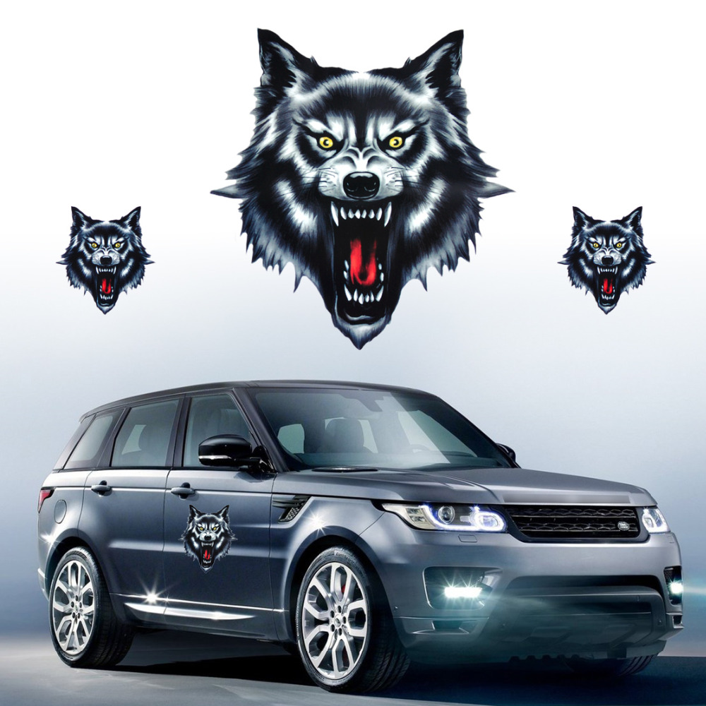 beler Wolf Head Decal Vinyl Funny Sticker fit for Motorcycle Motorbike Car Truck Helmet And All The Smooth Surface image