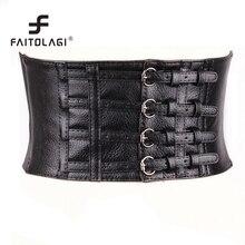 Wide Pu Leather Women Females Belts Cummerbunds Slimming Body Corset Buckle Belts For Women Ladies Elastic Belts
