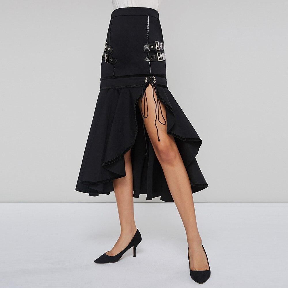 Rosetic готическая юбка годе Женская Черная Труба шнуровка Ретро стиль Рок Асимметричная Нижняя Мода Готическая Женская юбка осень