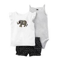 Groothandel 3 stks Kids Baby Meisje Kleding Casual Pak Katoen Jumpsuit + Mouwloze Tops + Shorts 2018 Zomer Nieuwe Baby meisjes Kleding