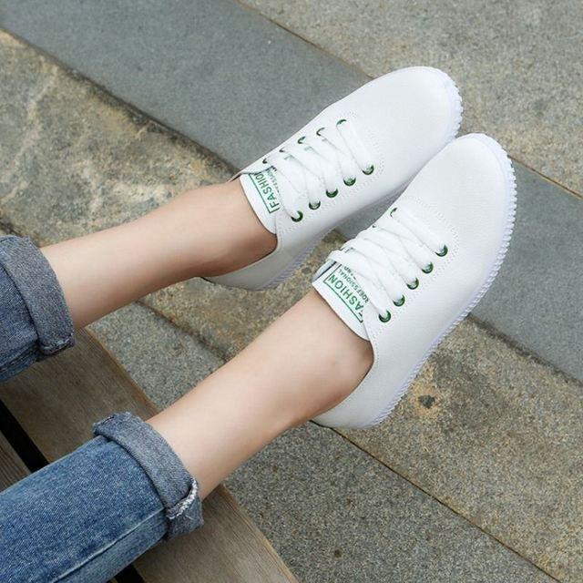 Women Sneakers White Vulcanized Shoes Lace  5