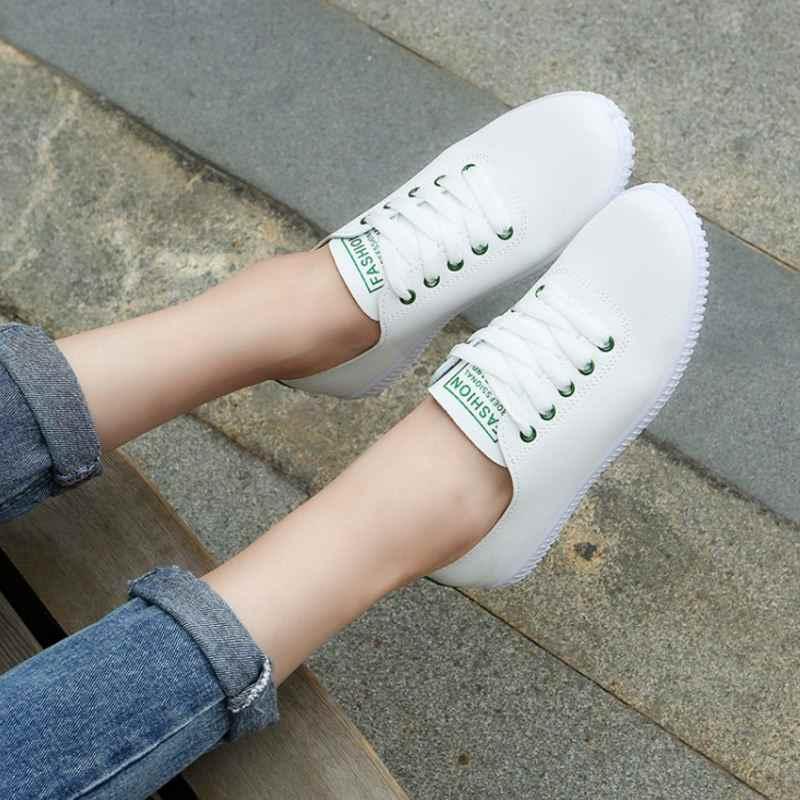 TAOFFEN נשים סניקרס לבן גופר נעלי תחרה עד הבוהן עגולה מזדמן נשים נעלי אופנה נשים נעליים הנעלה גודל 35- 40