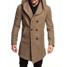 ZOGAA 2019 Fashion Mens Trench Coat Jacket Spring Autumn Overcoats Casual Solid Color Woolen for Men Clothing