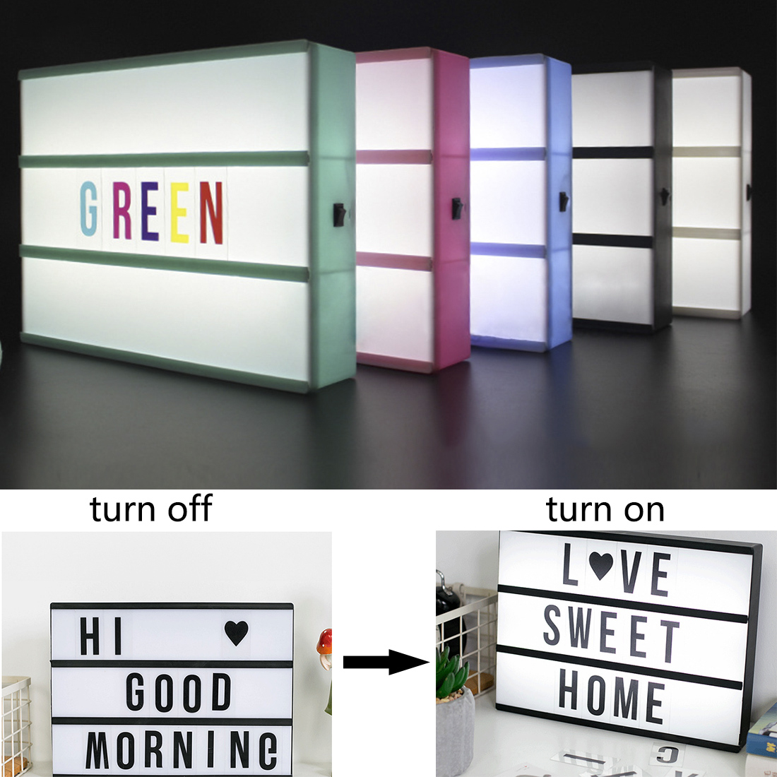 LED Light Box Letters DIY Lightbox Black Letters Cards Combination Night Light A6 Size White Pink Black Green Cinema Lamp