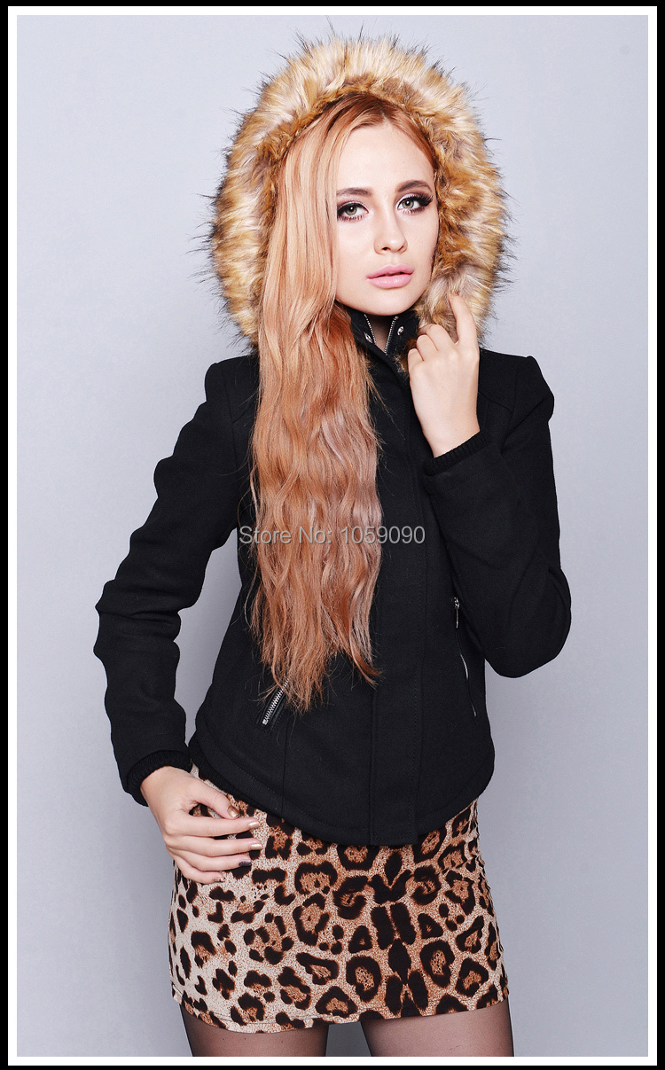 b5a2865a6417c Genuine ZA 2014 latest autumn and winter Female Black Fur hooded Short  Jacket coat Women Slim Hoodie overcoat With pockests. real pictures