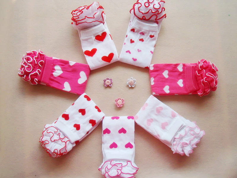 Infant Baby Girl Leg Warmers Toddler Girls Valentines Day Ruffled Heart Leg Warmers Socks Outfit Accessory