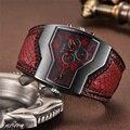 Oulm Классические Стильные Мужские часы с двумя часовыми поясами, наручные часы из искусственной кожи, мужские кварцевые часы, повседневные м...