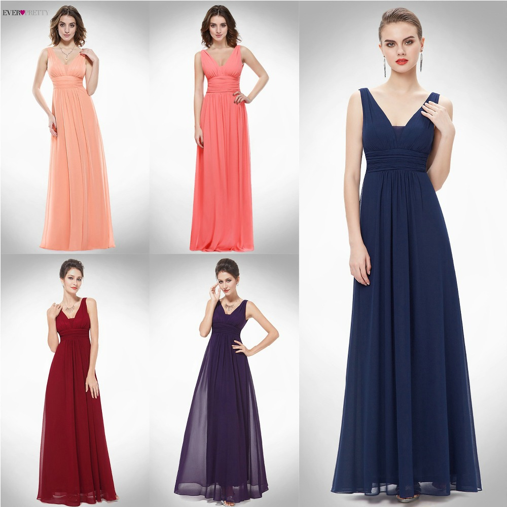 Elegant Purple   Bridesmaid     Dress   Ever Pretty EP08110 A Line Long Deep V-neck Women Sleeveless Chiffon Wedding Party   Dresses   2018