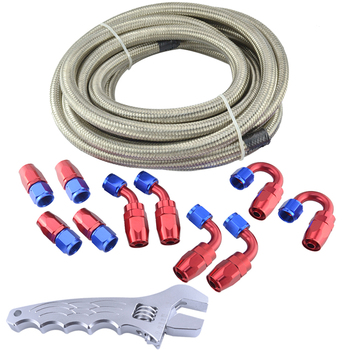 AN12 DOUBLE STAINLESS STEEL BRAIDED HOSE + Fittings End Adaptor KIT OIL/FUEL With Spanner