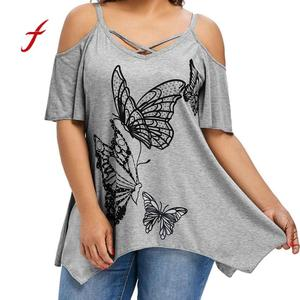 European style Women plus Size T-Shirt Summer Large Size Women Butterfly Printing T-Shirt big yards Short Sleeve Tops 60