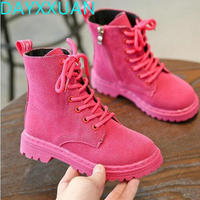 New Fashion Children Boots Kids Lace up Martin Boots Boys Girls Antislip Shoes Spring Autumn Leather Boot Size 27-31