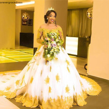 Black Girls African Wedding Dresses A Line Gold Appliques