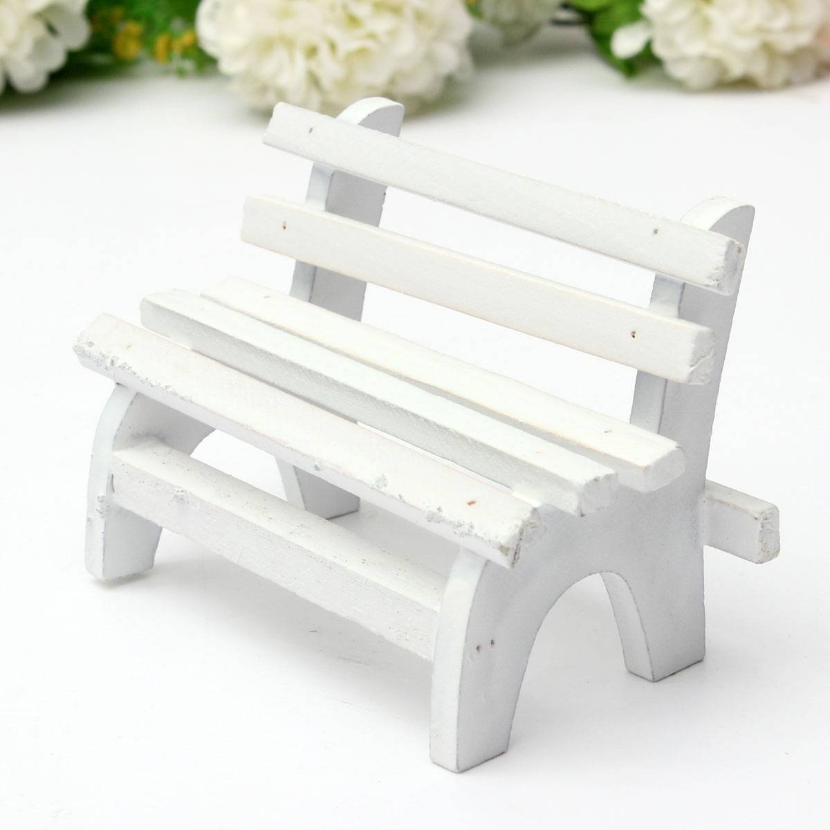 popular white wood benchbuy cheap white wood bench lots from  - miniature dollhouse landscape ornament plant diy craft home garden decorwooden chair bench white(china