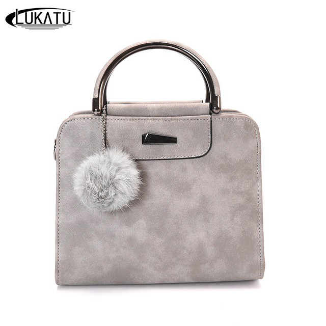 99e46cd4baf9 LUKATU New Women Fashion Leather Handbags Luxury Handbags Female Bags  Designer Hair Ball Iron Shoulder Bag Simple Messenger Bags