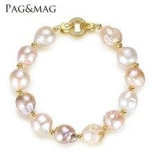 PAG y MAG Marca Brazalete de Perlas de Agua Dulce 12-13mm Multicolor Natural de Estilo Barroco Pulsera De Moda Para Regalo Joyería de las mujeres