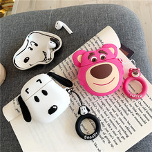 3D Cute Bear Dog For Airpod Case Cartoon Earphone Cases For Apple Airpods 1 2 Earpods Headphone Cover For Air Pods Ring Strap kartice for airpods strap [nerer lose your airpod]iphone 7 iphone 7 plus air pods strap wire rope connector for apple airpod