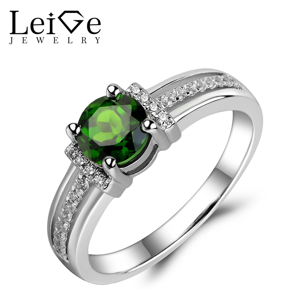 Leige Jewelry Genuine Chrome Diopside Ring Green Gemstone Wedding Engagement Rings for Women Silver 925 Fine Jewelry Round CutLeige Jewelry Genuine Chrome Diopside Ring Green Gemstone Wedding Engagement Rings for Women Silver 925 Fine Jewelry Round Cut