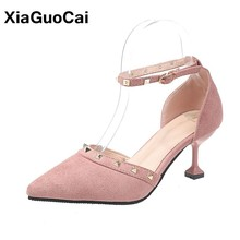 Spring Autumn Women Pumps DOrsay Two Piece Pointed Toe Thin High Heels 6-8cm Female Single Shoes Rivet Sexy Fashion Footwear
