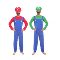 Free Shipping Anime Super Mario Cosplay Costume Adult Male Female Children family Mario Red/Green Hat Cosplay Halloween Costume