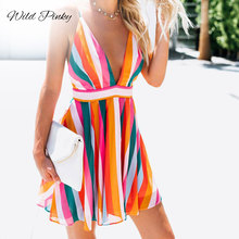 WildPinky 2019 Women Summer Dress Boho Style Patchwork Beach Spaghetti Strap Sundress Loose Mini Party Dresses Vestidos