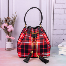 RED CURRENT Promotion Discount Products Wholesale Lady grid Handbags Women  tassel Tote Bags Purses 3 Pieces 4aa19c3f08ada