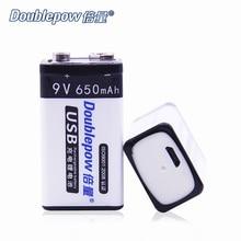 NUEVO 2 unids/lote Doublepow DP-USB 9 V 650 mAh Li-ion recargables en Real de Alta Capacidad Android USB DC-de carga Inteligente Celular