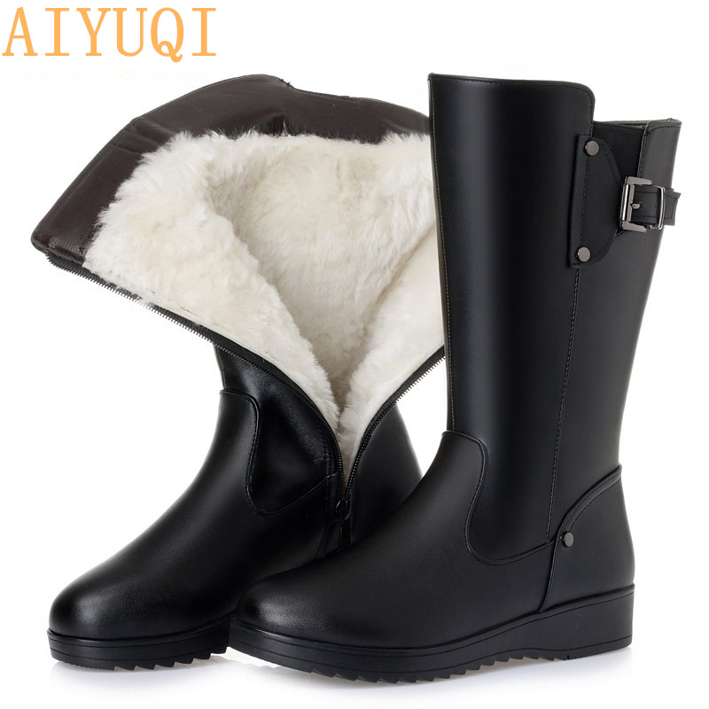 AIYUQI Female winter boots 2019 new genuine leather female motorcycle boots big size 41 42 43