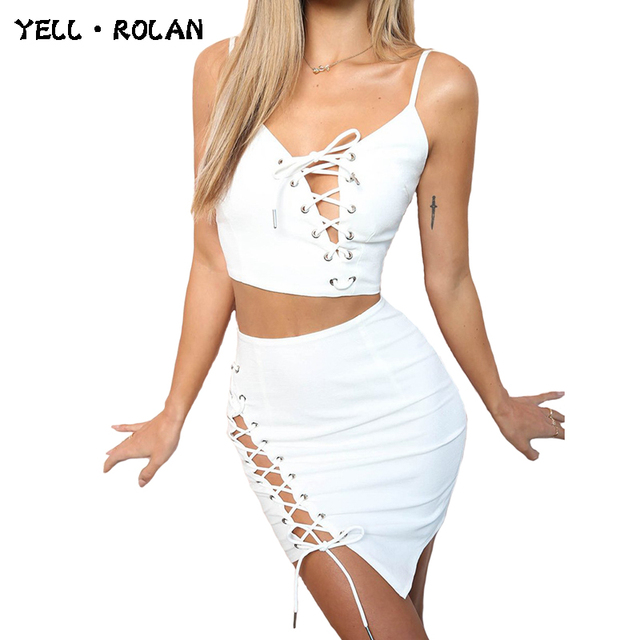 YELL ROLAN Ladies Solid Two Pieces Set Women 2018 Hot Lace Up Backless Sexy Crop Top and Asymmetrical Beach Mini Tight Skirt XL
