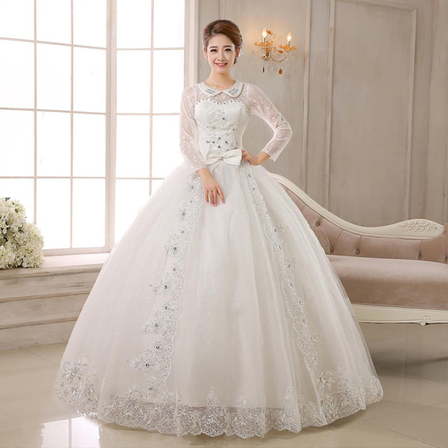 Don's Bridal Wedding Dresses 2016 Tulle Beaded Muslim Customize Long Sleeve Crystal Lace Up Back Ball Gown Weeding Dress