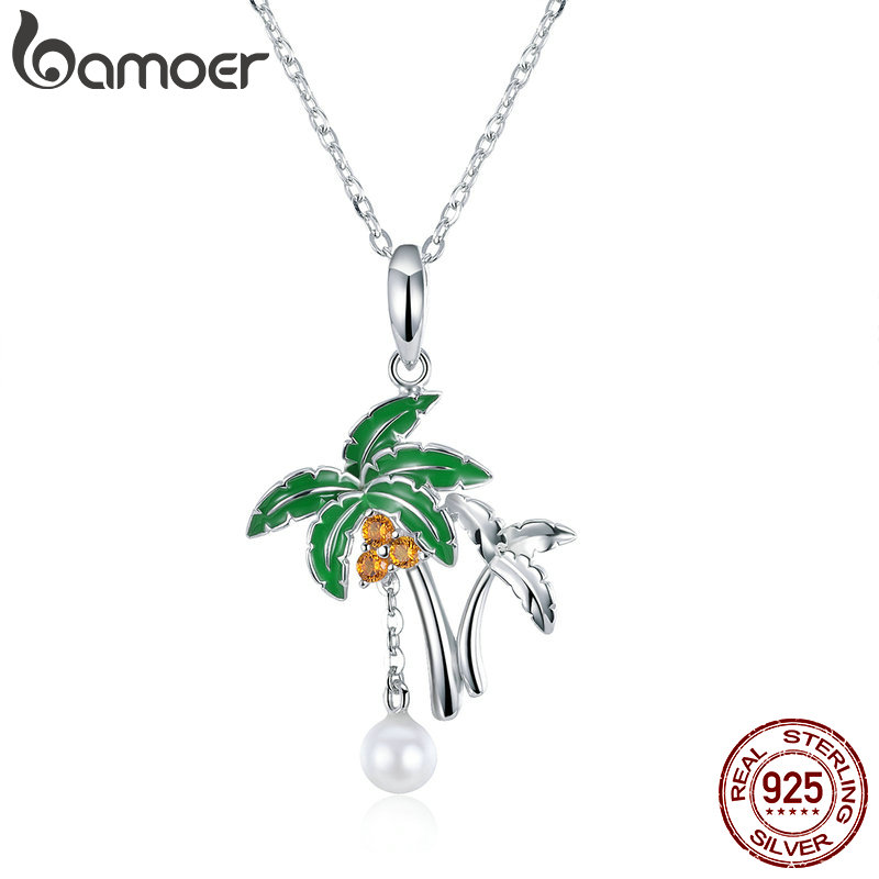 BAMOER Summer Collection Genuine 925 Sterling Silver Coconut Tree Women Pendant Necklaces Sterling Silver Jewelry SCN257 casual men s coconut tree printed boardshorts