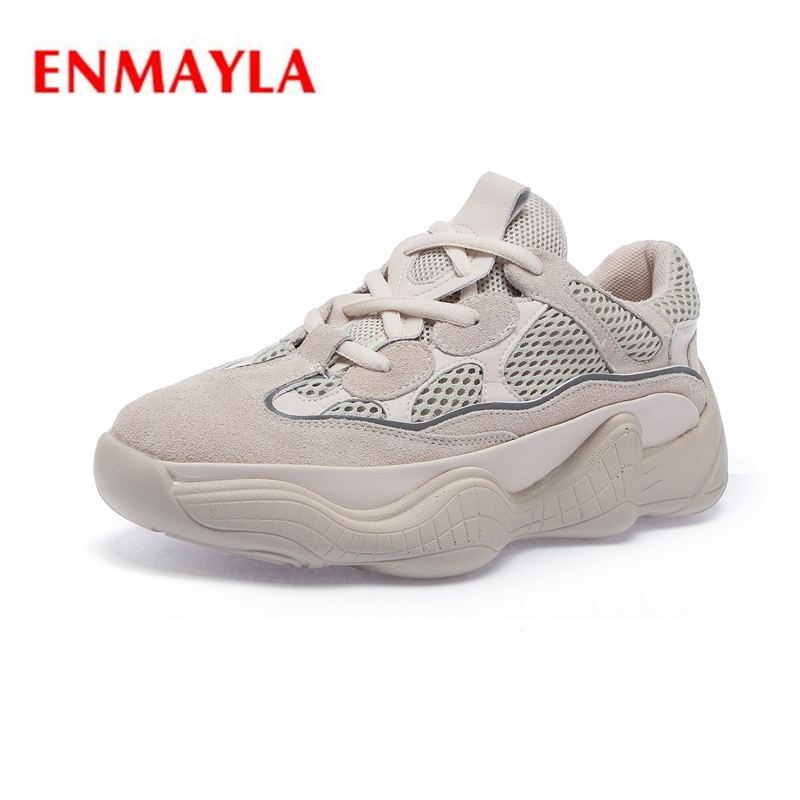 ENMAYLA New arrival lady pointed toe kid suede lade up sneaker women fashion solid shoes Big size 34 43 ZYL 498