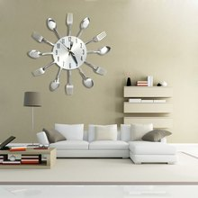 Modern Cutlery Shape Stainless Steel Wall Clock for Home Decor
