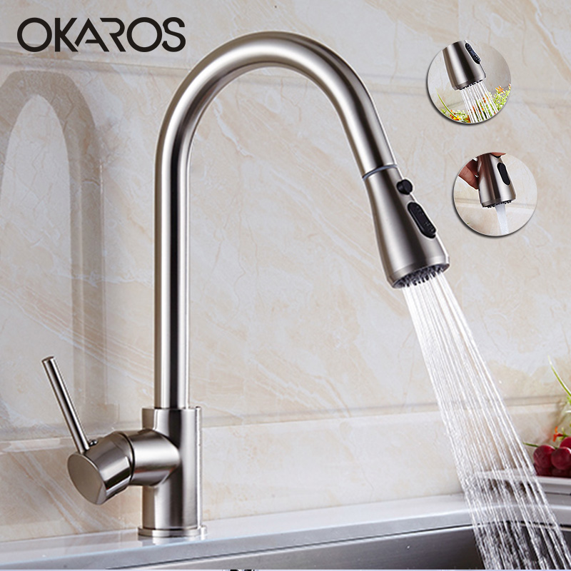 OKAROS Kitchen Sink Faucet Pull Out Down Nickel Brushed Brass Crane Hot Cold Water Tap Mixer torneira para cozinha cocin xoxo kitchen faucet brass brushed nickel high arch kitchen sink faucet pull out rotation spray mixer tap torneira cozinha 83014